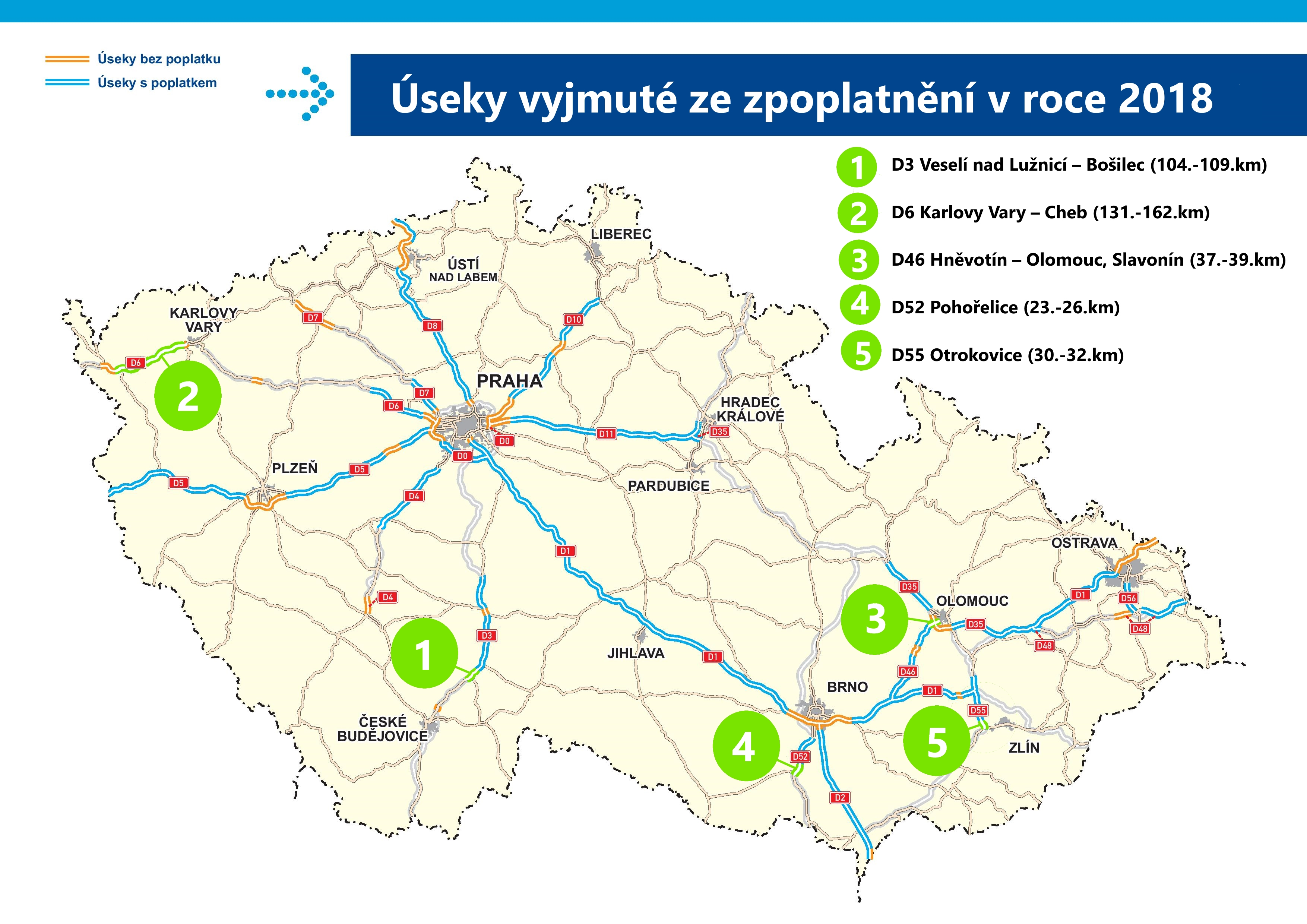 Map of new toll-free highways in 2018