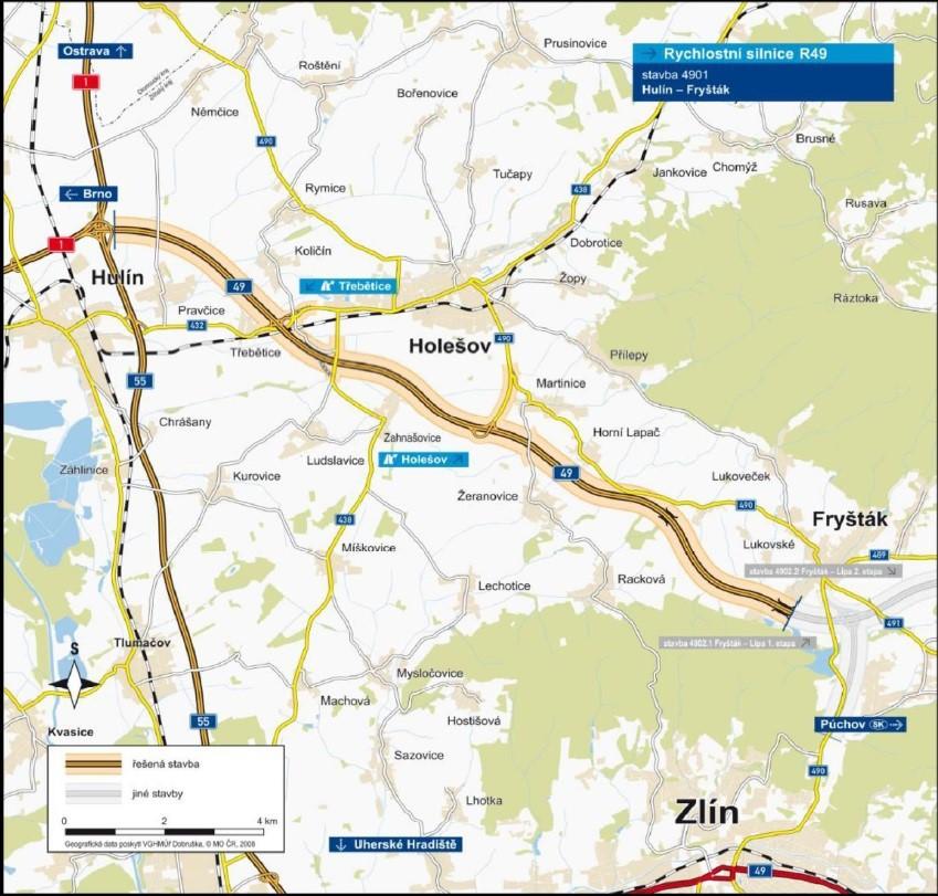 Mapa stavby D49 Hulín - Fryšták