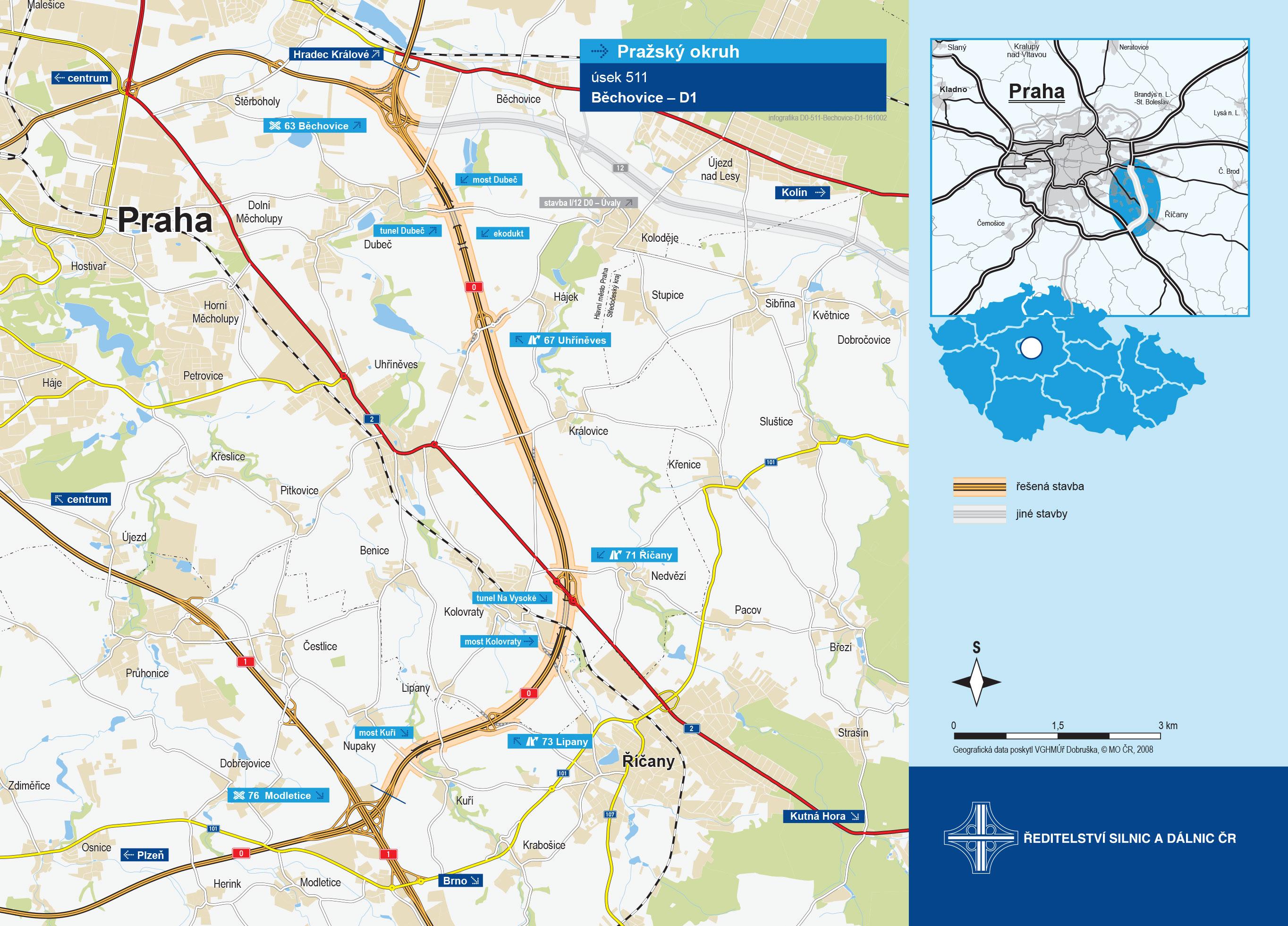 Mapa výstavby Silničního okruhu kolem Prahy v úseku Běchovice - dálnice D1